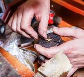 Jewelery creation. Precise process of jewelery creation Stock Photography