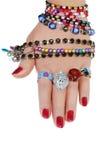 Jewelery in der Hand Lizenzfreies Stockbild