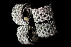 Jewelery - diamond earrings Royalty Free Stock Photo