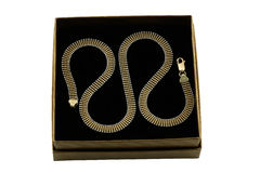 Jewelery gold chain. Over black Stock Image