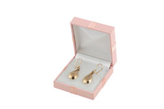 Jewelery gold earing. In box Royalty Free Stock Images