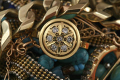 Jewelery gold ring with diamond. Jewelery background Royalty Free Stock Image