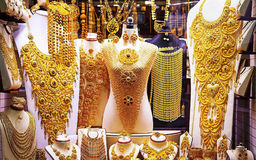 Jewelery Gold Store. In Dubai, gold accessories royalty free stock photo