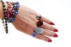 Jewelery in hand Stock Images