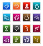 Jewelery Icons - sticker series. Jewelery Sticker Icons isolated over white background - sticker series vector illustration