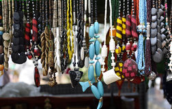 Jewelery in Indian Market. Hanging colorful jewelery in Market, India Stock Photography