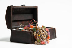 Jewelery in old wooden box Royalty Free Stock Photography