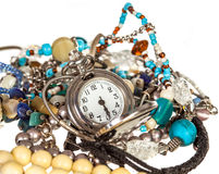 Jewelery and pocket watch Royalty Free Stock Image