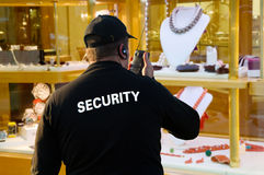 Jewelery security. A jewelery security in front of a shop stock photos