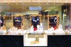 Jewelery store Christmas display. Jewelery retail store decorative Christmas  store window display 2013 Stock Photo