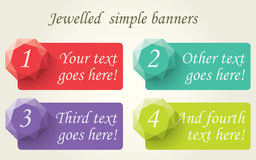 Jewelled Simple Banners. 4 simple banners, flat styled, with jewel decoration. Ai10  illustration with cmyk global colors. included as additional format Stock Photos