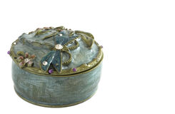 Jewelled Trinket Box. With butterfly detail isolated on white Royalty Free Stock Photography