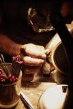 Jeweller. Polishing a ruby jewel Royalty Free Stock Photo