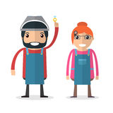 Jeweller masters. Man and woman. Stock Image