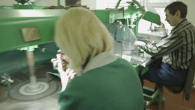 Jeweller At Work Polishing A Ring stock video