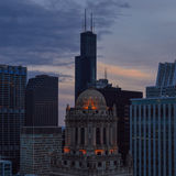 Jewellers Building and Sears Tower at dusk Stock Photography