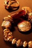 Jewellery_1. Old gold ornaments in the beautiful light and perspective Stock Images