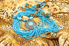 Jewellery. From turquoise: medallion,necklace,beads royalty free stock images