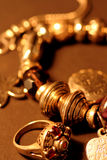 Jewellery_2. Old gold ornaments in the beautiful light and perspective Royalty Free Stock Photos