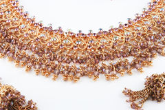 Jewellery. Indian nice golden jewellery in stock Royalty Free Stock Image