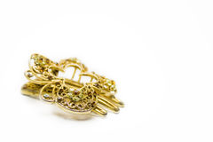 Jewellery. Beautiful female golden hairpin on white Royalty Free Stock Images