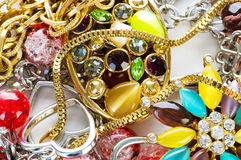 Jewellery arranged as the background Stock Photography