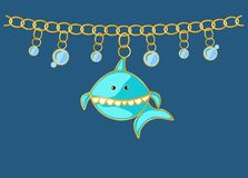 Jewellery blue shark pendants with bubbles water. Chain with golden rings. Cartoon style character fish. coulombs marine themes royalty free illustration