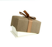 Jewellery box. With the brown ribbon. Isolated. White background stock image