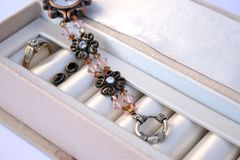 Jewellery Box. Jewellery in a Jewellery box with watch, ring and earrings Stock Images