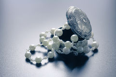 Jewellery box with white pearls with studio lights Stock Image