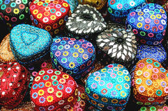 Jewellery boxes. Hand made jewellery box in vibrant colors Royalty Free Stock Images
