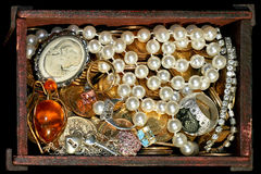 Jewellery in coffin royalty free stock image