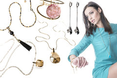 Jewellery collage with beautiful brunette model Royalty Free Stock Images