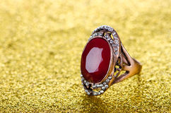 The jewellery concept with ring on shiny background Stock Images