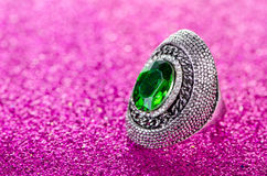The jewellery concept with ring on shiny background Royalty Free Stock Image