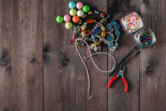 Jewellery hand crafting tools and elements royalty free stock photo