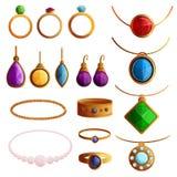 Jewellery icon set, cartoon style stock illustration