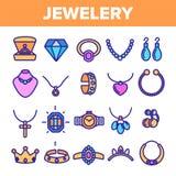 Jewellery Kreskowej ikony Ustalony wektor Diamentowy Luksusowy Jewellery symbol Klejnot elegancji znak Cienieje kontur sieci ilus ilustracja wektor