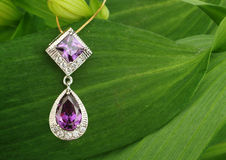 Jewellery pendant with diamonds and spinel on green leafs backgr Royalty Free Stock Photos