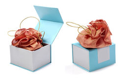 Jewellery pouch on and in the box Stock Photo