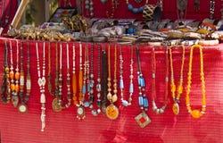 Jewellery on the red velvet Stock Photography