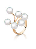 Jewellery ring with pearl isolated on white, clipping path Royalty Free Stock Photography