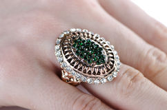 The jewellery ring worn on the finger Stock Images