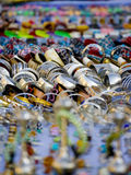 Jewellery for sale in bazaar. Close up of jewellery and goods for sale in bazaar, Tunis, Tunisia stock images