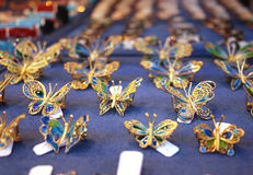 Jewellery shaped as butterflies. In Florence, Italy, on Ponte Vecchio bridge Royalty Free Stock Image