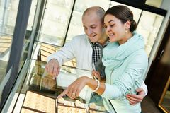 Jewellery shopping in boutique Royalty Free Stock Images