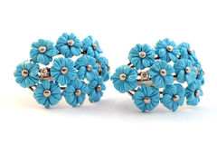 Jewellery silver turquoise earrings Royalty Free Stock Photo