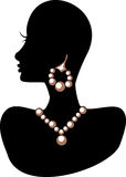 Jewelry 1. Vector Illustration of a silhouette mannequin with jewelry royalty free illustration
