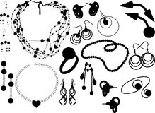 Jewelry. Silhouettes of the various jewellery Royalty Free Stock Images