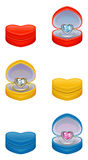 Jewelry. Ring-heart in gift box vector illustration